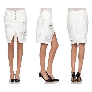 New JOE'S Denim White Skirt Front Slit Size 24